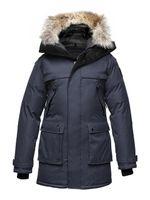 Wholesale Navy Nobis YATESY down coats Nobis YATESY Men s Long Parka Crosshatch Snow coats Men down jackets Canada USA Finland