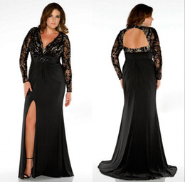 Wholesale Newest Style Long Sleeve Backless Plus Size Prom Dresses Black Lace V Neck Crystals Front Slit Long Sheath Party Gowns Custom Made P51