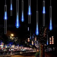 led meteor rain light - DHL cm Meteor Shower Rain Tubes LED Light For Christmas Wedding Garden Outdoor Tree Decoration Lamp Blue white colorful romantic lights