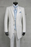 Cheap Custom Made White Ticket Pocket Groom Tuxedos Best Man Peak Lapel Groomsmen Men Wedding Suits Bridegroom (Jacket+Pants+Tie+Vest)