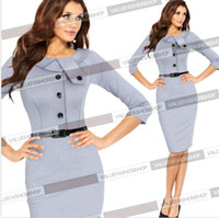 business wear - Womens Elegant Cotton Tunic Business Casual Wear To Work Party Pencil Dress DH04