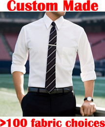 Wholesale Custom MADE TO MEASURE SLIM FIT DRESS SHIRTS BESPOKE FITTING CLASSIC WHITE COTTON MEN SHIRTS CUSTOMIZED SHIRTS FOR WEDDING GROOMS SUITS