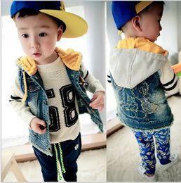 Wholesale Autumn Children Denim Waistcoat Coat Baby Boy Hoodies Cartoon Picture Vest Jacket Washed Denim Different Size Fit Y Kids Clothes WD131
