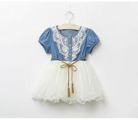 jumper dress - baby girl kids lace dress Denim dress flower floral tutu dress vintage princess jumper wave ruffle zig zag crochet embroidery waistband