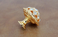 drawer pull - K9 Crystal Luxury Gold Flower Diamond Crystal Shiny Hardware Drawer Pulls Shower Handle K Gold