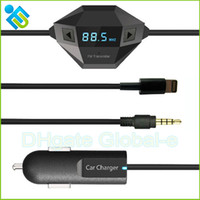 Wholesale Black Octa Wireless FM Transmitter with Double Connectors for Iphone Samsung HTC HUAWEI Smartphone MP3 MP4 FM Music Player DHL