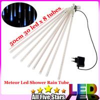 achat en gros de led blanche lumière arbre-Bleu / Blanc / RGB 50CM Meteor Shower Rain Tubes lumières LED 240 LED Meteor Shower Rain Tube expédition Lumières extérieures Arbre Décoration gratuit