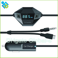 Wholesale Dropshipping Octa Wireless FM Transmitter Black color with Double Connectors for Smartphone Iphone MP3 MP4 HTC Samsung FM Transmitter