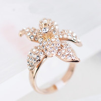 Wholesale R113963 Elegant Micro Crystal Rings Zinc Alloy K Champagne Gold Imitation Rhodium Plated With Austria Crystal Fashion Jewelry