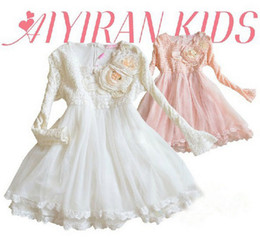 Wholesale Baby Kids Clothing Children girls princess long sleeve party princess lace with flower tutu dress white pink gmy