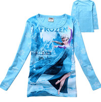 Wholesale low price Spring autumn color Frozen Baby Girls Yrs Elsa Anna Princess Olaf Hoodie Long Sleeve shirts clothes