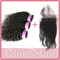 Cheap bundle hair with closure Best kinky curly lace closure