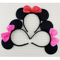 Cheap 20pcs lot Mickey Minnie Mouse Ears Bow Headbands Children Boys Girls Cosplay Hair Accessories for Christmas Birthday Party