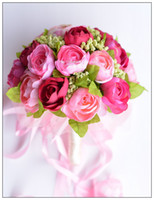 artificial hands - In Stock Romantic Wedding Bouquet Pink Bridesmaid and Bridal Hand Holding Flower Artificial Flowers Adornment Silk D56