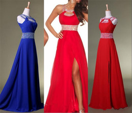 Wholesale In Stock Cheap Beach Prom Chiffon dresses Fashion Sequins Crystal Crew Royal Blue Red Party dresses Sleeveless Backless evening Gowns