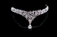 hair fall - 2014 Fall New Arrival Fashion Alloy Hollow Red Silver Crystals Beaded Pendant Forehead Jewelry Crown Wedding Bridal Tiaras Hair Accessories