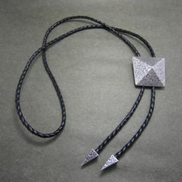 Western Tie Clips Bolo Tie For Men Silver Plated Geometric Patterns Bolo Tie BOLOTIE-010SL