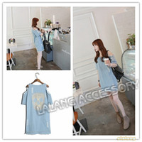Cheap 2014 Wholesale Women Denim Dresses Ladies Off Shoulder Jean Dress Retro Ripped Skull Short Sleeve Casual Loose Dresses dp851564