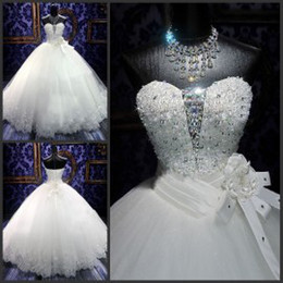 Wholesale Ball Gown Wedding Dresses Strapless Princess Gowns with Hand Made Flowers Embroidery Appliques Cathedral Wedding Gowns with Rhinestones