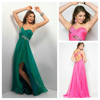 2015 Hot pink One- Shoulder Party Dresses Ruffled Chiffon Pro...