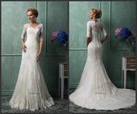 Cheap Beautiful Elegant Lace Bridal Mermaid Top Quality V Neck Half Sleeve Amelia Sposa Chapel Train Wedding Dress Custom Made Dress HY160