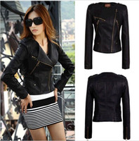 leather jackets for women - Stylish Celebrity Drop shipping Fashion Trench Coat for Women Faux PU Leather Jackets Zip Up Cropped Biker Jacket DH04