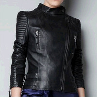 women black short leather jacket - Vintage Women Black Slim Biker Motorcycle Soft Leather Zipper Jacket Coat Short DH04