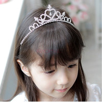 Wholesale Cute Girl s Princess Hairbands Children Sweet Rhinestone Crown Party Silver Headwear For Kids SV001649