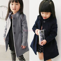 coat winter coat - 2014 Children s Winter Thicken Single Breasted Coat Little Girl Warm Woolen Trench Cotton Padded Long Clothing
