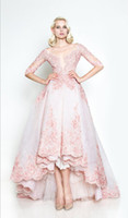 Cheap 2015 New Design Pink Half Long Sleeve Applique Organza Illusion Neck A-line High Low Wedding Dresses Full Skirt