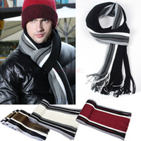 Wholesale Vintage Men s Winter Striped Scarf Men Tassels Scarves Long Pashmina Artificial Wool Shawl