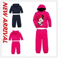 wholesale sports jackets - and Retail Kid s coat Mickey Minnie Fleece Hooded Hoodie Sweater pants children kids sport set cartoon hoody suit autumn jacket
