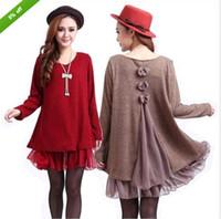 xxxl - Casual cocktail long sleeves knit loose tops dress colors L XL XXL XXXL DH04