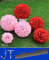 Wholesale 2014 New Artificial Encryption Rose Silk Flower Kissing Balls Large Hanging Ball Christmas Ornaments Wedding Party Decorations HSA0751
