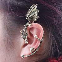 alchemy goth - Europe and America Style Alchemy Fashion Fly Dragon Ancient Antique Gold Silver Copper punk Gothic Stud Earrings Goth Ear Cuff