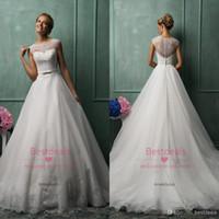 2014 Amelia Sposa vintage ivory sheer lace A line wedding dr...