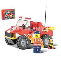 Cheap Sluban Fire Crash Truck B0217 Building Blocks Sets 118pcs Legoland Educational Jigsaw Construction Bricks Toys For Children