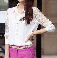 Cheap New Women Ladies Sheer Long Sleeve Sleeved T-shirt Top blouse size S M L XL XXL DH04