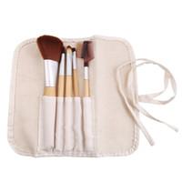 Wholesale 2014 The Lastest Natural Bamboo Handle Makeup Brushes Set Cosmetics Tools Kit Powder Blush Brushes with Hemp linen bag H10939 DHL Free