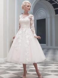 Wholesale Vestidos de novia de longitud de té de la vendimia Vestidos de novia de encargo del A