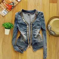 Wholesale Korean Women Autumn Winter Denim Clothing Jeans Short Style Metal Zipper Denim Jacket Long Sleeved Jacket Blouses designer jean
