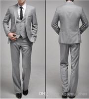New Custom Made One Button Slim Fit Light Grey Groom Tuxedos...
