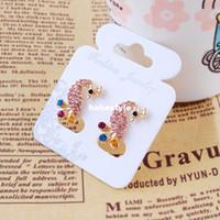 Wholesale 2014 Creative peacock earrings Korea Hot stall full of diamond earrings Yiwu jewelry factory newYH0921