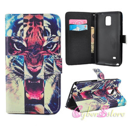 Wholesale For Galaxy Note S5 Wallet Leather Case Keep Calm Hot Lips Tiger Cover With Credit Card Stand Holder for Samsung Note4