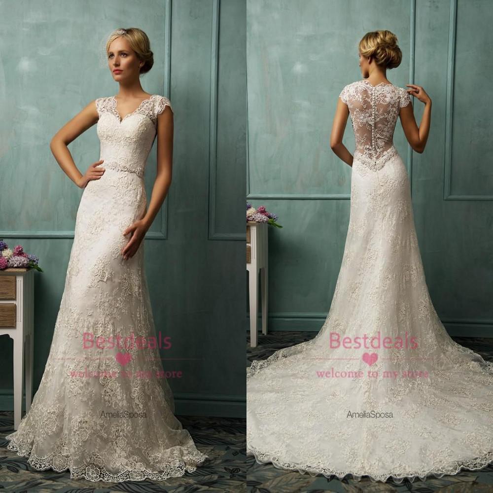 Top quality 2014 amelia sposa full lace wedding dresses for Full sleeve lace wedding dress