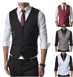 Wholesale 2015 Men s Vests Europe and America Style Unique Side Pocket Decoration Cotton Blend M XXL Black Red White Gray Slim Fit