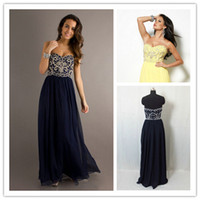 2015 Navy Blue Sweetheart Party Dresses Ruffle Chiffon Prom ...