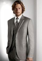 Custom Made Two Buttons Groom Tuxedos Light Grey Best Man No...