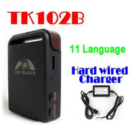 Cheap BY DHL OR EMS 10 PIECES gps tracker tk102b 4 bands+hard wired charger+one battery for google link tk102-2 support SD Card