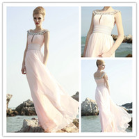 2015 Pink Scoop Party Dresses Ruffle Chiffon Prom Dress Floo...